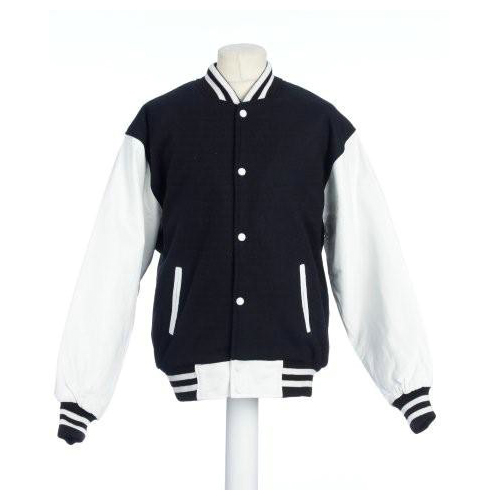 Skye Baseball College Jacket Black With White All Leather Sleeves.jpg