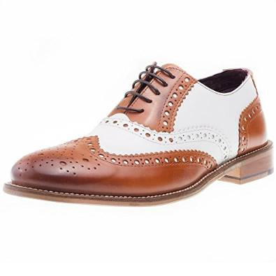 Brogue mens shoe Tan/white
