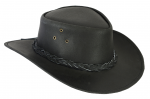 BLACK LEATHER HAT PLATTED